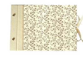 Schraubalbum Gästebuch, Din A4 Querformat,offener Buchrücken, Carta Varese Papier Blümchengirlande hellbeige  gold bronce