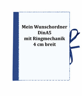 Wunschordner Din A5, 4  cm breit,mit Wunschpapier, zweifach Mechanik