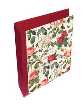 Ringordner 8 cm breit mit Hebelmechanik , Florentiner PapierRosenkomposition rot rosa gold, mit Tippklemmer