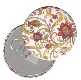 Taschenspiegel,Handspiegel, oder Flaschenöffner mit Magnet  ,Button, 59 mm Durchmesser,Blumenranken rot grün gelb