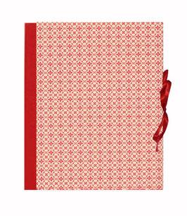 Ordner / Ringordner  DinA4  Leibziger Vorsatzpapier kleine Blümchen rot, 3 cm breit