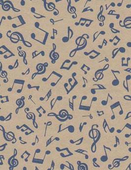 Baumwoll Papier handgeschöpft, aus Nordindien, tanzende Noten blau auf beige