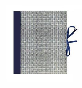 Ringbuchordner für DinA4 , 3 ,5 cm breit, Carta Varese Papier kleine Quadrate blau