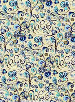 Florentiner / Italienisches Papier kleine Ornamente blau gold