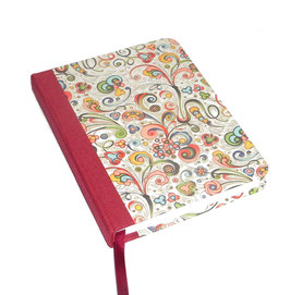 Kalender / Buchkalender / Taschenkalender 2019 DinA6, Florentiner Papier kleine Ornamente bunt gold,cremfarbiges Papier