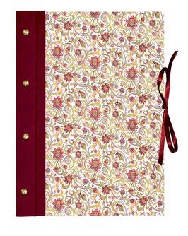 Schraubalbum / Gästebuch DinA4 Hochformat, offener Buchrücken, Italieniches Papier  Blumenranken rot grün gelb, mit 25 Blatt weißem DinA4 Druckerpapier 160g