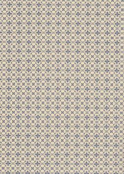 Leipziger Vorsatzpapier  kleine Blümchen blau,04