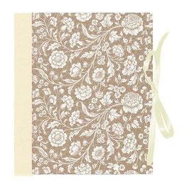 Ringordner Din A5 , 5 cm breit, mit Bügelmechanik , große Blumen gold kupfer beige