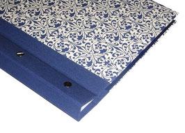 Fotoalbum Schraubalbum DinA4 , Hochformat, Carte Varese Ornamente blau ,mit geschlossenem Buchrücken