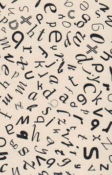 Baumwoll Papier handgeschöpft, aus Nordindien, tanzende Buchstaben schwarz auf beige