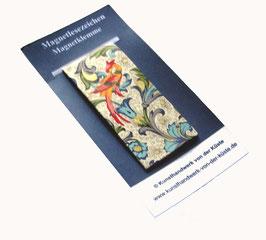 Magnetlesezeichen Ornamente Vögel blau gold