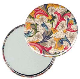 Taschenspiegel,Handspiegel, oder Flaschenöffner mit Magnet  ,Button, 59 mm Durchmesser,Florentiner Papier Ornament bunt gold