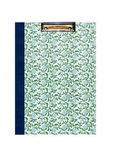 Klemmbrett Mappe DinA4 , Carta Varese Papier Blumen hellblau grün