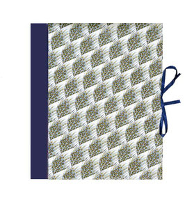 Ringordner 2cm breit, Florentiner Papier große Federn  blau grau  gold
