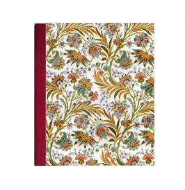 Ringordner 8 cm breit mit Hebelmechanik , Florentiner Papier buntes Fahnenkraut rot, mit Tippklemmer
