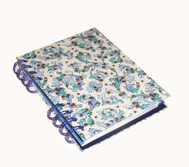 Telefonbuch / Notizbuch Din A6, mit blauer Ringbindung Wire-O Bindung, Register ABC blau , Ornamente blau gold