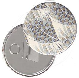 Taschenspiegel,Handspiegel, oder Flaschenöffner mit Magnet  ,Button, 59 mm Durchmesser, Federn blau grau mit Golddruck