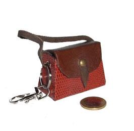 Tampon Tasche / Anhänger Eidechspapier braun