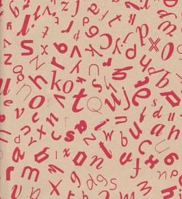 Baumwoll Papier handgeschöpft, aus Nordindien ,tanzende Buchstaben rot auf beige