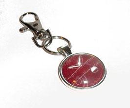Anhänger Schlüsselanhänger Cabochon, italienisches Papier Streifen bordeaux rot