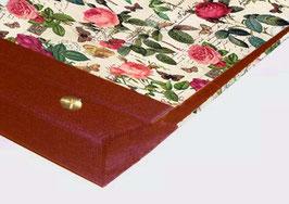 Fotoalbum Schraubalbum DinA4 , ohne Inhalt , Querformat, Florentiner Papier Rosenkomposition mit Golddruck, geschlossenem Buchrücken