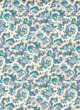 Florentiner / Italienisches Papier  50 x 70 cm  blau gold Nr.06