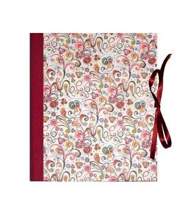 Ringordner Din A5,  2 cm breit,Florentiner Papier kleine Ornamente bunt gold rot ,zweifach Mechanik