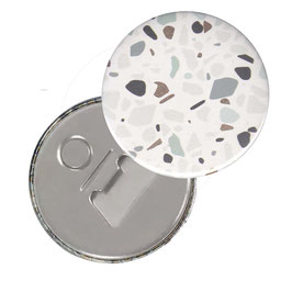 Flaschenöffner mit Magnet oder Taschenspiegel,Handspiegel, mit Echtglas ,Button, 59 mm Durchmesser,Florentiner Papier Terrazzo mit Golddruck
