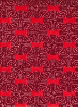 Nepal - Papier / Lokta Papier,  Kreise auf Linien kupfer auf Kastanie,Kirschrot