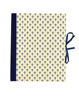 Ordner / Ringordner  DinA4  Florentiner Papier  Blumen Kronen blau gold, 3 cm breit