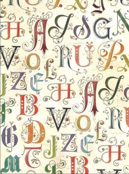 Florentiner / Italienisches Papier  50 x 70 cm Alphabetum mit Golddruck