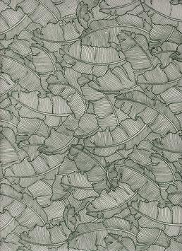 """Baumwoll Papier handgeschöpft, aus Nordindien """" Paradise Natural Green"""""""
