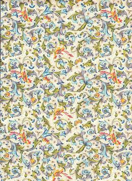 Florentiner / Italienisches Papier 50 x 70 cm Vögel gold Nr.06