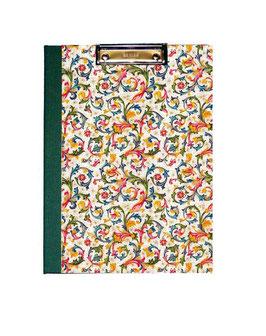 Klemmbrett Mappe DinA4 , florentiner Papier mit Golddruck,  Ornamente bunt