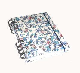 Notizbuch Din A6, mit schwarzer Ringbindung Wire-O Bindung, Ornamente Schmetterlinge