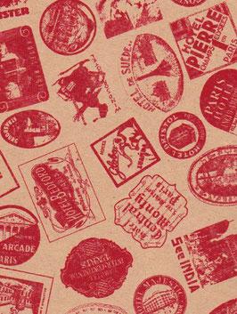 """Baumwoll Papier handgeschöpft, aus Nordindien   """" Globetrotter rot auf beige"""""""