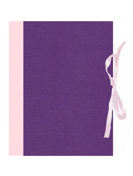2 Ringordner , Sondermaße, 8,5 cm breit, Zweifachmechanik, Florentiner Papier Ornamente bunt,rubin rot und Buchleinen rosa, Efalinpapier lila