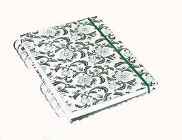 Notizbuch Din A6, mit weißer Ringbindung Wire-O Bindung, Florentiner Papier ohne Goddruck, Blumen blau grün