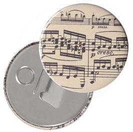 Flaschenöffner mit Magnet oder Taschenspiegel,Handspiegel  ,Button, 59 mm Durchmesser, Carta Varese Papier,Noten schwarz auf beige