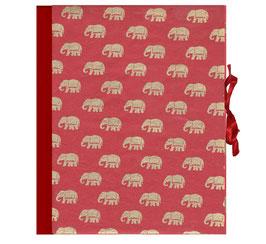 Ringordner DinA4, 3cm breit, Elefanten gold auf rot