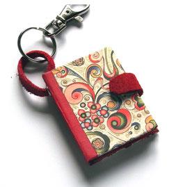 Mäppchen / Anhänger für  Notizheftchen,kleine Ornamente bunt gold