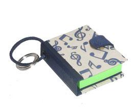 Mäppchen / Anhänger für Haftnotizen / Haftnotizzettel,Baumwoll  Papier tanzende Noten beige blau