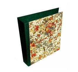 Ringordner 8 cm breit mit Hebelmechanik , Florentiner Papier,elegante Blumen,grün, mit Tippklemmer
