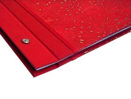 Schraubalbum Gästebuch, Din A4 Querformat, Nepalpapier Seide rot gold,