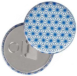 Flaschenöffner mit Magnet oder Taschenspiegel,Handspiegel  ,Button, 59 mm Durchmesser,Chiyogami Yuzen Papier,Sternenmuster,hellblau