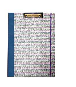 Klemmbrett Mappe DinA4 , Carta Varese Papier kleine Balken blau grün lila
