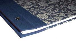 Schraubalbum Gästebuch, Din A4 quer,große Blumen blau, Querformat