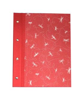 Fotoalbum Schraubalbum DinA4  Hochformat, Baumwollpapier Libellen siber auf rot