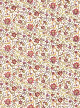 Florentiner / Italienisches Papier  50 x 70 cm, Blumenranken rot grün gelb