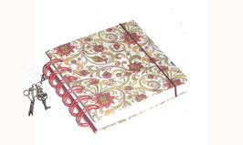 Notizbuch klein, mit roter Ringbindung Wire-O Bindung,  Blumenranken rot grün gelb